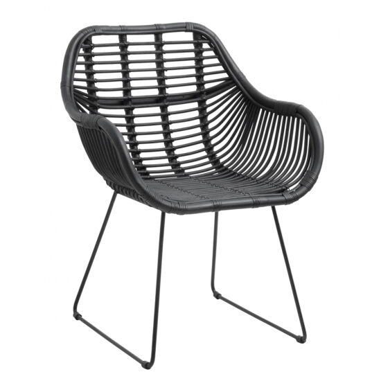 Söögilaua tool, must rotangist